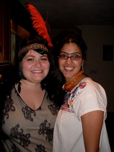 Me as a flapper, and Sarah Jette as Frida Kahlo